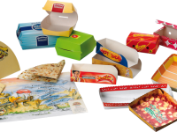 Various containers trays, hot dogs-croquette-piadina holder box