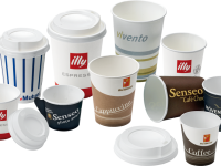Polystyrene tops and lids for cups for coffee and hot drinks