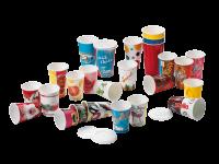 Couvercles en polystyrene pour gobelets-verres en carton