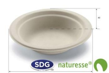 Cellulose pulp Round soup plate with edge 400 ml ø 18 cm - 11185
