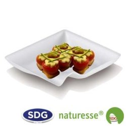 """Square plate in 8x8 cm cellulose pulp - """"Finger Food"""" line - N132 ex 420/P"""