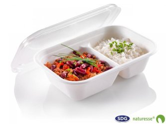 Take-away tray in cellulose pulp 1000ml, 2 compartments - N397