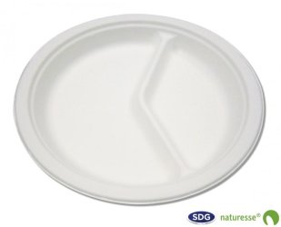 ROUND CELLULOSE PULP PLATE 2 DIVISIONS - 10761