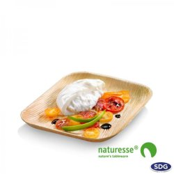 Assiette carrée en feuille de palme 23x22 cm - COD. 5040 (ex 804)