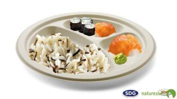 Assiette ronde plate en pulpe de cellulose à 3 compartiments ø 26 cm - 5112 ex 409/P