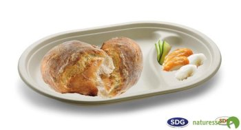Assiette ovale en canne pulpe de cellulose à 2 compartiments 30x21 cm - 5104 ex 410/P