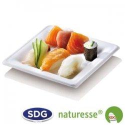 """Assiette carrée plate en pulpe de cellulose 16x16 cm - """"Ligne Elégance"""" - N127"""