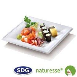 """Assiette carrée en pulpe de cellulose 20x20 cm - """"Ligne Elégance"""" - 15381 ex N128"""