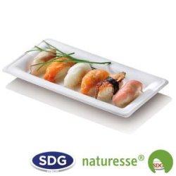 """Assiette rectangulière en pulpe de cellulose 26x13 cm - """"Ligne Elégance"""" - N130 ex 433/P"""