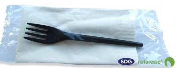 SET MONO - fourchette noir + serviette - 16582