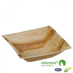 Piatto quadrato fondo in foglia di palma 16x16x4,5 cm - N140