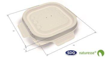 Coperchio richiudibile per vaschetta 230 ml e 340 ml in plpa di cellulosa - 3455 ex CSL020