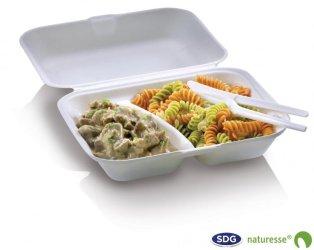 Food Box in polpa di cellulosa due scomparti con coperchio 650 ml 23,5x 19,5 x 7,5 cm - 3467