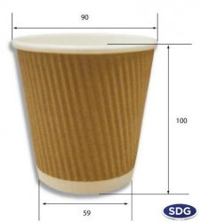 BICCHIERE CAFFÈ 12OZ BROWN KRAFT AROMA RIPPLE CUP - 70710 - 300ml