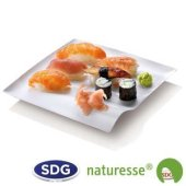 """Cellulose pulp square plate in 20x20 cm - """"Finger Food"""" line - N134 ex 422/P"""