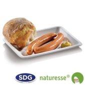 Assiette rectangulaire en pulpe de cellulose 20x15 cm - 411