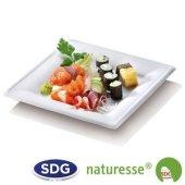 """Assiette carrée en pulpe de cellulose 26x26 cm - """"Ligne Elégance"""" - N129 ex 432/P"""
