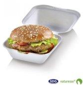 Box burger large richiudibile in polpa di cellulosa 13,5 x 13,5 x 7,8 cm – 3474