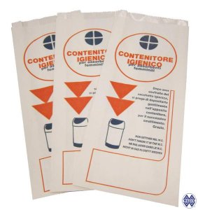 Hygienic bag in white kraft paper and polyethylene